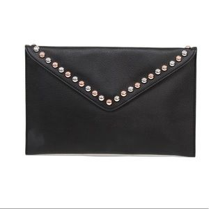 NWT b-low the belt studded black clutch